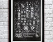 Soviet Rocket Schematics - Space Decor - Patent Print Poster Wall Decor - 0106