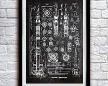 Soviet Rocket Schematics - Space Decor - Patent Print Poster Wall Decor - 0106
