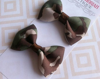 Baby Girl Hair Clips Clippies - Toddler Hair Clips -  Tuxedo Hair Bow Clip - Camouflage hair bow clips