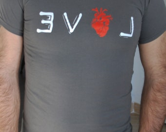 T-shirts printed written LOVE with anatomical heart