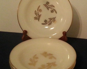 Vintage Federal Glass Meadow Gold Soup Bowls (4) (#1098)
