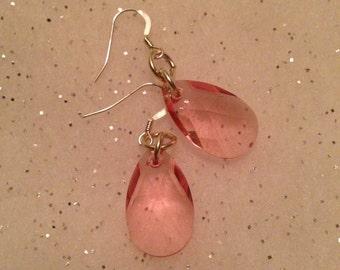 Pretty in Pink Swarovski pear earrings