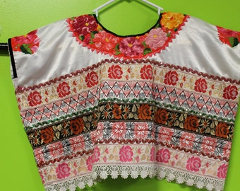 BEAUTIFUL FRIDA STYLE Hand Embroidered Huipil from Oaxaca size Large White Satin