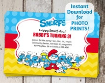 Smurfs Birthday Party Invitation - Instant digital file download - Can use to order photo prints! (printable on card stock, too!)