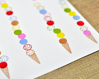 Ice Cream Stamp Set of Three, Hand carved rubber stamps