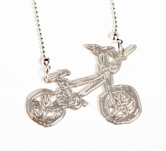 Bike statement jewelry necklace long necklace silver plated for Just my style personalized jewelry studio