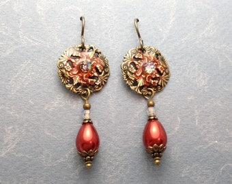 Victorian Cinnabar Filigree Earrings.