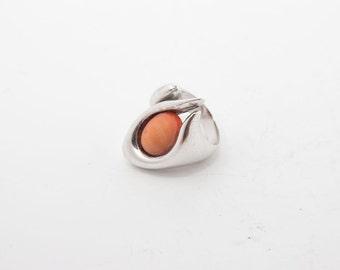 Vintage ring 4343 - silver - coral