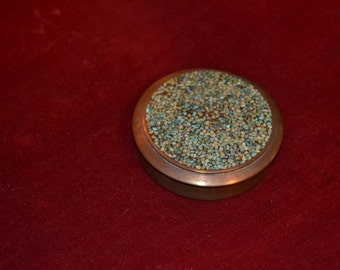 Vintage round bronze box of egyptian origin with lovely mosaique work on top- handmade- eg.74 size 8.5cm