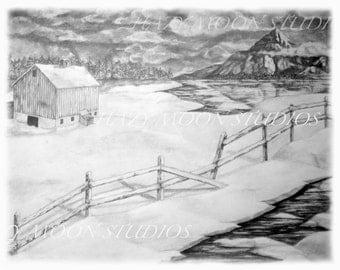 WINTER BARN drawing print