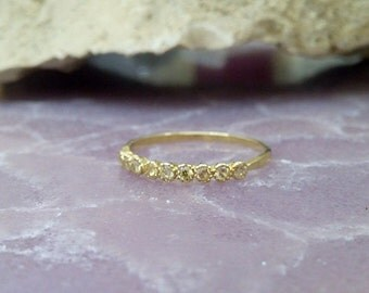 SALE! Citrine Ring,Slim Stack Ring,Tiny Stones Ring,Gold Ring,Dainty Ring,Yellow Ring,November Birthstone,Gift For Her