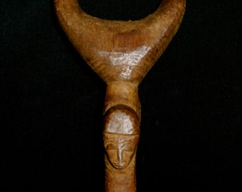 Baule Tribal Slingshot Carved Wood Patina Cote d'Ivoire African 2
