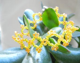 Flowers bracelet, boho bracelet, orange bracelet, yellow bracelet, beaded bracelet, hippie bracelet, beaded flowers, orange flowers