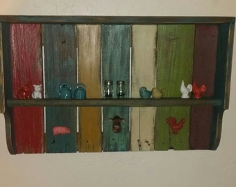 Rustic hanging wall shelf, made from reclaimed wood, distressed paint finish