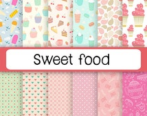 Candy Digital Paper, Cupcake Patterns, Digital Macaron Graphics, Party Paper, Food Digital Paper, Candy Backgrounds, Baking Scrapbook