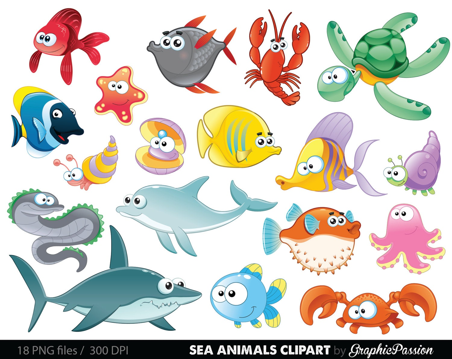 Clip Art Sea Creatures Clipart sea creature clipart etsy animal under the baby creatures clip art ocean graphics animals vector
