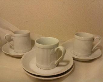 Unmarked White Demi tea set