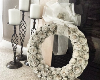Handmade book pages flower wreath