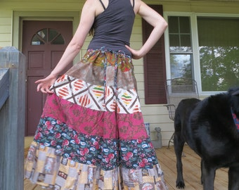 Tiered Hippie Patchwork Vintage Fabric Spinny Skirt Festival hooping