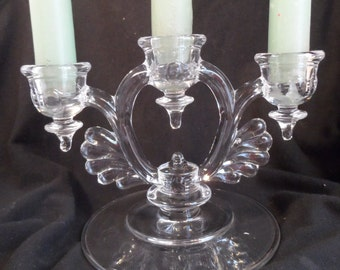 Candelabra-New Martinsville Glass Moondrops Pattern-Trident Candle Holder- Antique