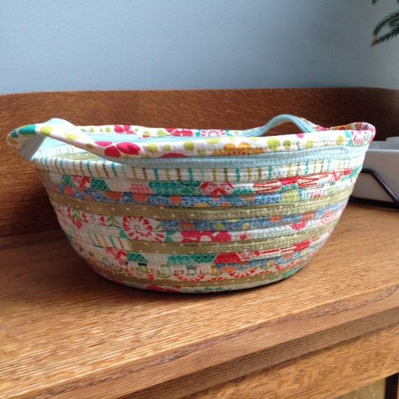 Handmade Rope Basket : Handmade fabric rope basket with handles