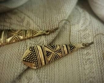 Tarnished Gold Tribal Pendant Earrings