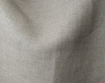 100% Natural Linen Fabric. Burlap Linen Fabric by yard. Classic Plain Linen Fabrics. Pure Linen Fabrics by meter. Grey Natural Flax Linen