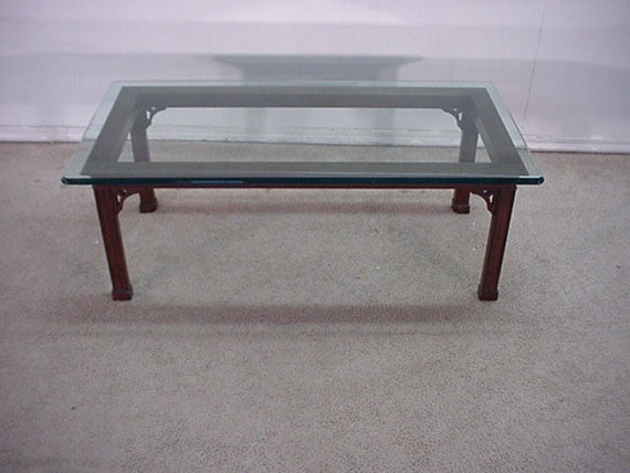 Stickley Solid Cherry Glass Top Coffee Table