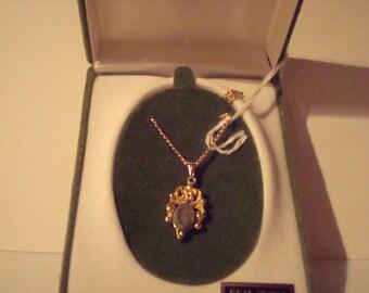 authentic vintage jade pendant in goldtone setting