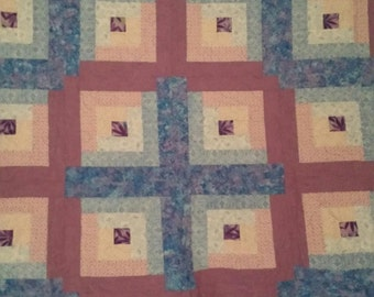 Purple and blue Log Cabin style Quilt