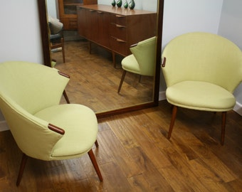 2  Re upholstered Matching Danish Chairs from 1960's