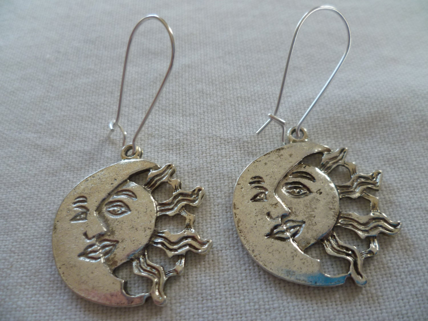 sun and moon earrings sun earrings moon earrings planet