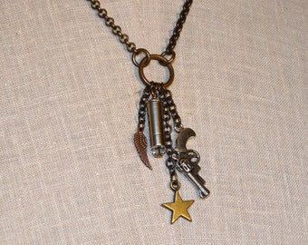 Bullet Gun, Star, and Wing Charm Necklace - .22 Caliber Bullet Casing