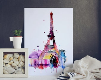 Paris Watercolor Poster - Paris Watercolor Print - Multicolored Watercolor Illustration - Eiffel Tower Print
