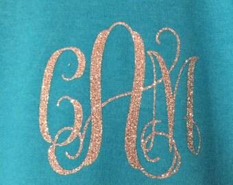 Vinyl Glitter Monogrammed Shirt You choose color