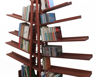 Library and CD BAOBAB in solid wood with height adjustable shelves