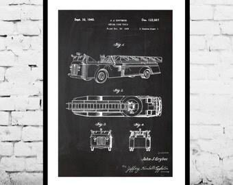 Firetruck Poster, Firetruck 1940 Patent, Firetruck 1940 Print, Firetruck 1940 Art, Firetruck 1940 Decor, Firetruck 1940 Blueprint