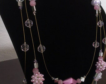 Pink and Gold Wired Necklace