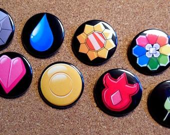 Pokemon Kanto Badges - Gym Badge Set / Indigo League - First Generation Pins