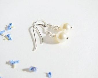 Silver Pearl Earrings, Sterling Silver Earrings
