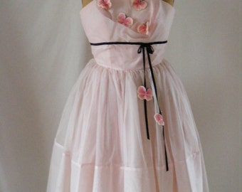 1950's  Cotton Candy Light Pink Prom/Party Dress with Butterflies