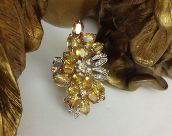 Genuine Yellow Sapphire Flower Bouquet Ring