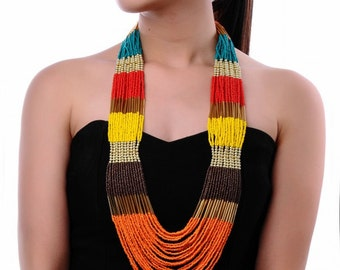 Long Multi-Coloured Beaded Necklace