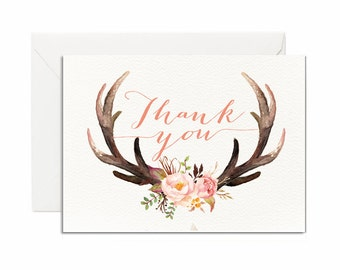 Thank You Card, Boho, Woodland, Baby Shower, Bridal Shower
