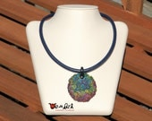 Free Shipping Handmade Unique Necklace Clay Pendant with Rainbow Color Swirls on 6 mm Dark Blue Genuine Leather Cord