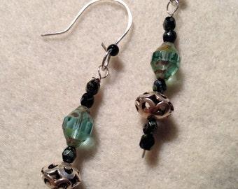 Sterling Silver Earrings, Sterling Filigree Earrings, Glass Bead Earrings, Dangle Earrings