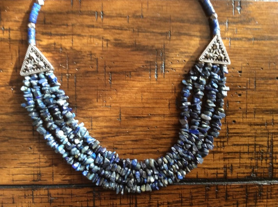 Soladite and Sterling Silver bib necklace