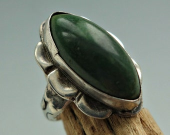 Mexico Green Onyx Sterling Silver Ring 1930s