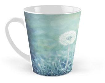 Dandelion Floral Ceramic Mug, 12 ounce Tall Blue Mug,  Blue Dandelion Puff Ceramic Mug, Blue Flower Ceramic mug