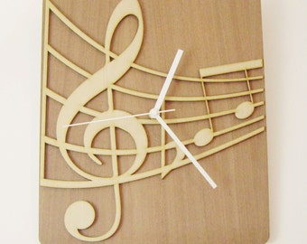 "Wooden wall clock - ""MUSICAL NOTES"""
